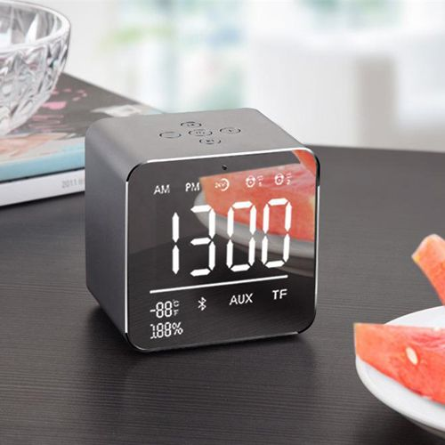Alarm Clock Bluetooth Speaker Wireless Portable Bedside Speaker 3W Drivers Support TF Card FM Radio and Microphone