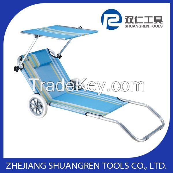 Folding Canopy Beach Chair with Wheels