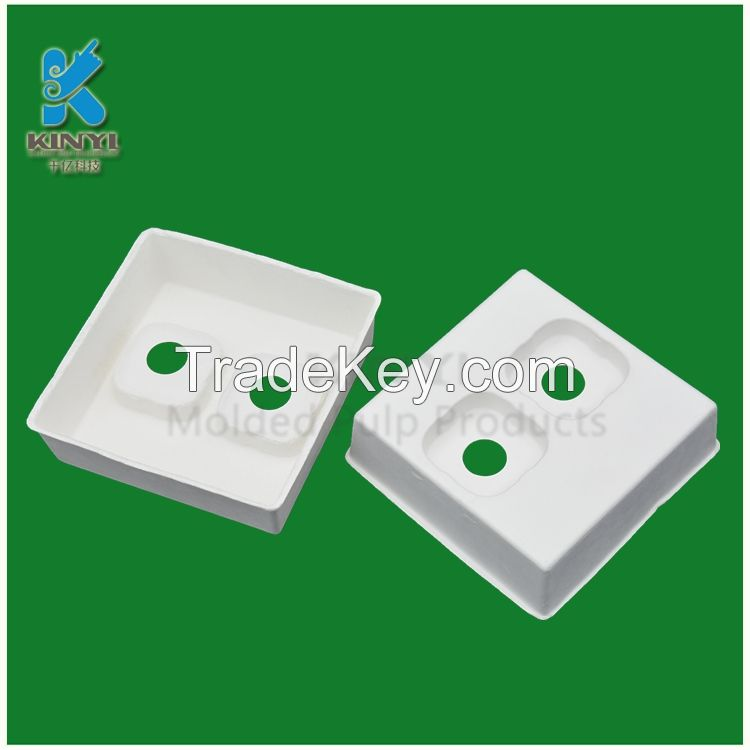 Customized bagasse pulp molded biodegradable ear phone packaging tray