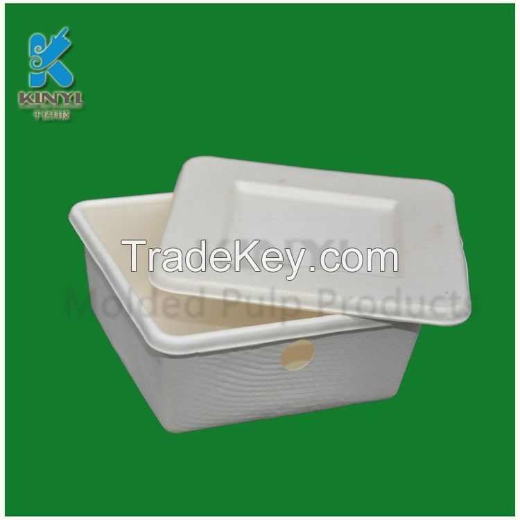 Biodegradable bagasse pulp molded packaging boxes