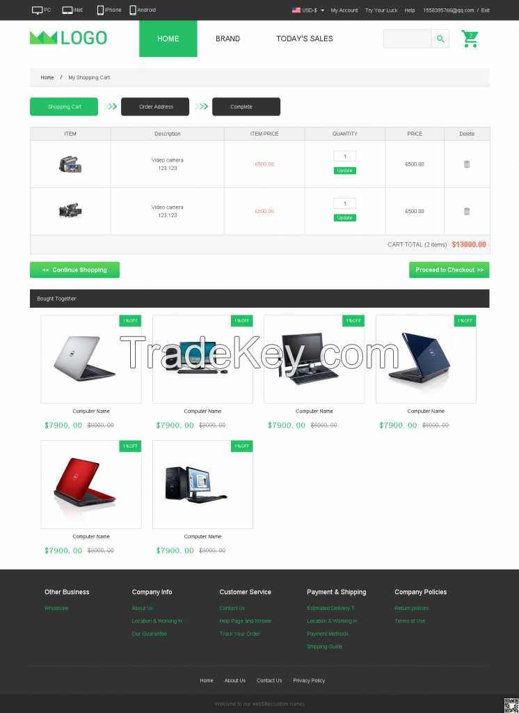 B2B and B2C and O2O website with trade and payment