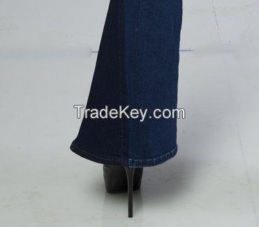 Stylish Flare Hem Double Tone Ripped Blue Women Jeans