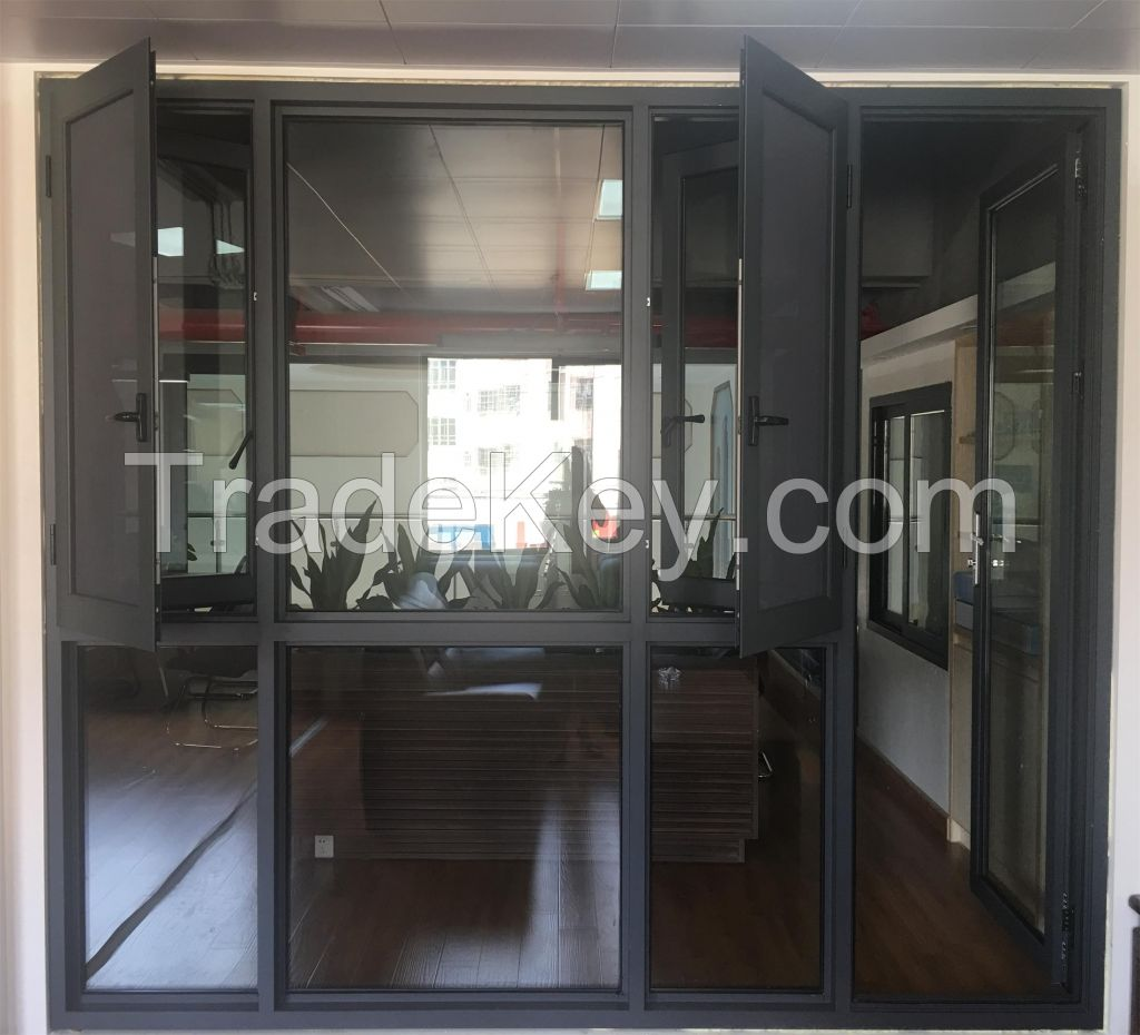 aluminium swing window with security net for residence