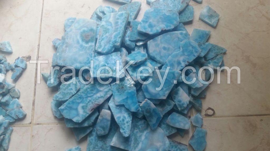 Larimar raw stones