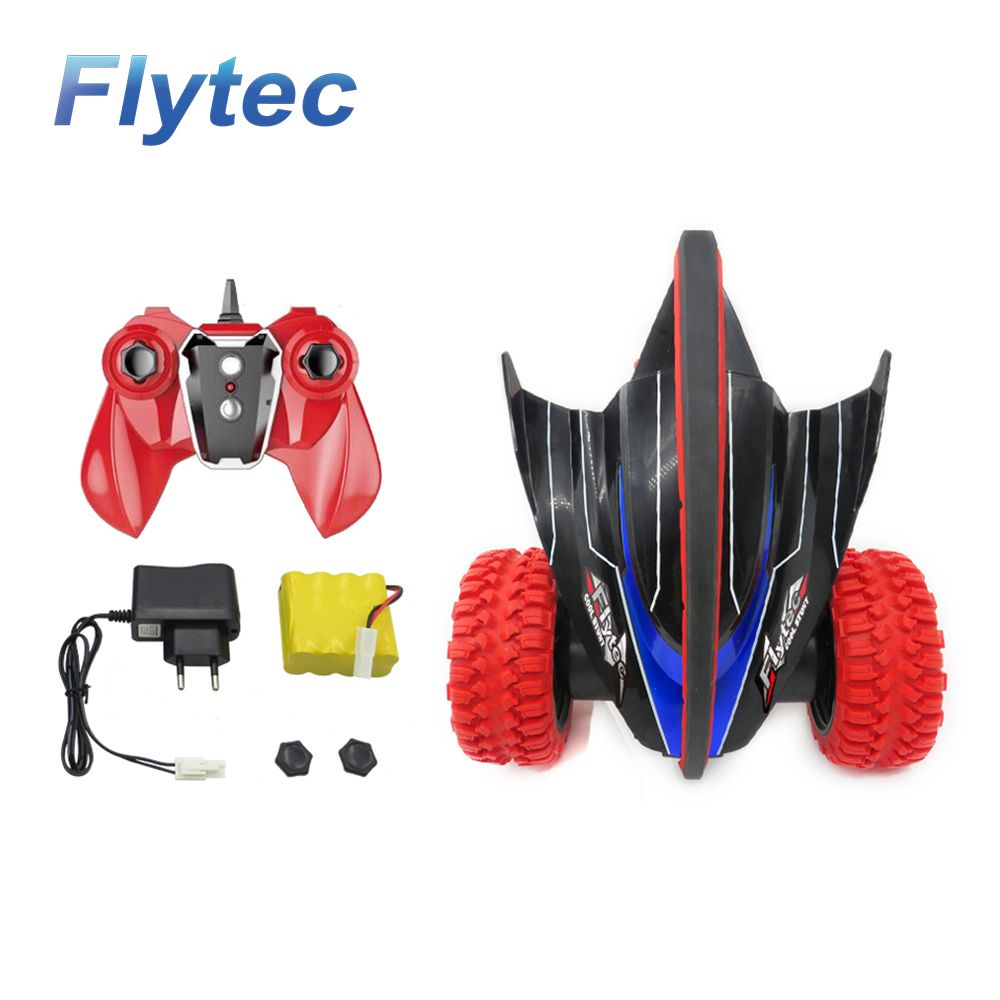 Flytec 015 RC Car 360 Degree Bouncing Rotation Devil Fish Crazy Gyro Truck Rock With Light RTR Red