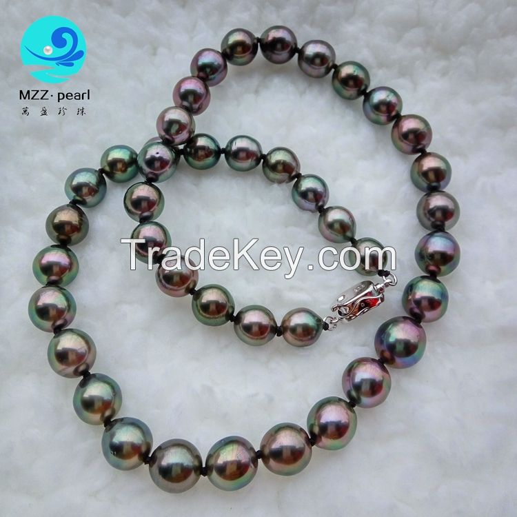 off round high luster black 8-10mm cultured tahitian pearl necklace for women