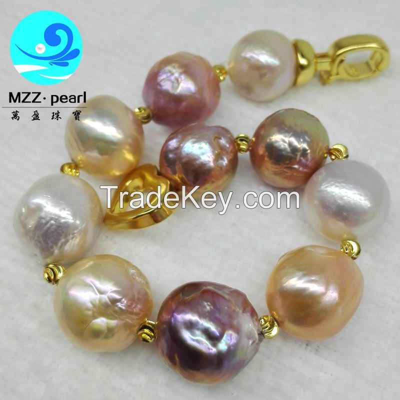 13-15mm large size multiple color freshwater pearl bracelets jewelry
