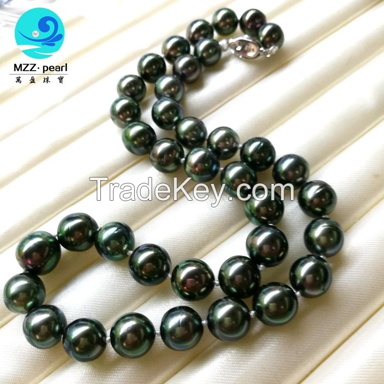 10-12mm saltwater tahitian black pearl jewelry,choker pearl necklace ,best gift for her