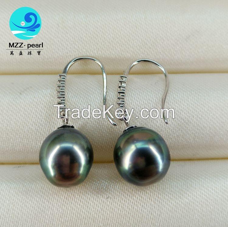 9-10mm baroqu seawater  tahitian pearl earring in sterling silver hook for women