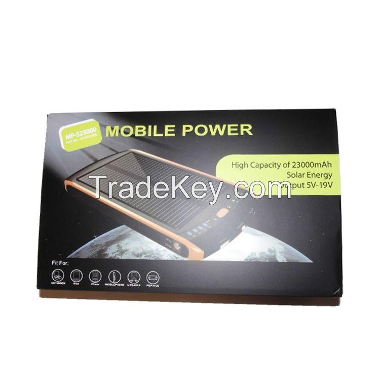 High Capacity 23000mah Laptop Solar Powerbank 23000mah power bank Fast Charging Solar Powerbank 5v 12v 16v 19v Dual USB