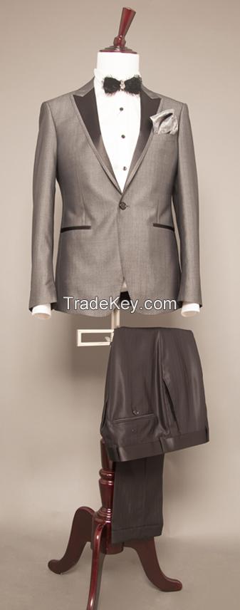 Newest design high quality best price Grey colour men suits fashion