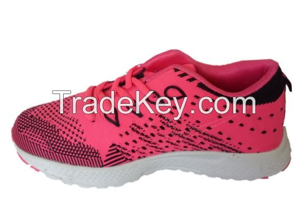 Hot Sale Custom Sport Shoes and Sneakers Comfortable Bright Colour Flyknit Upper Shoes