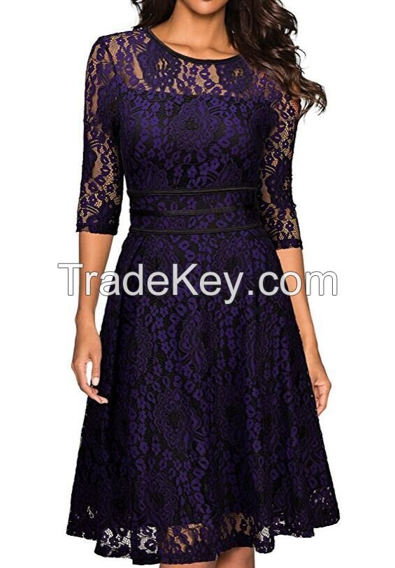Women cotton lace short dress