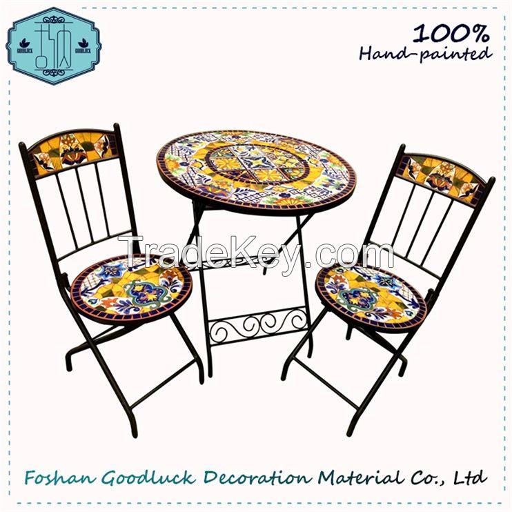 Hand Painted Mosaic Top Metal Patio Garden Folding Furniture Sets