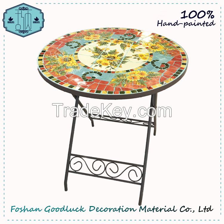 Hand Crafted Flower Mosaic Top Metal Patio Bistro Outdoor Furniture Sets