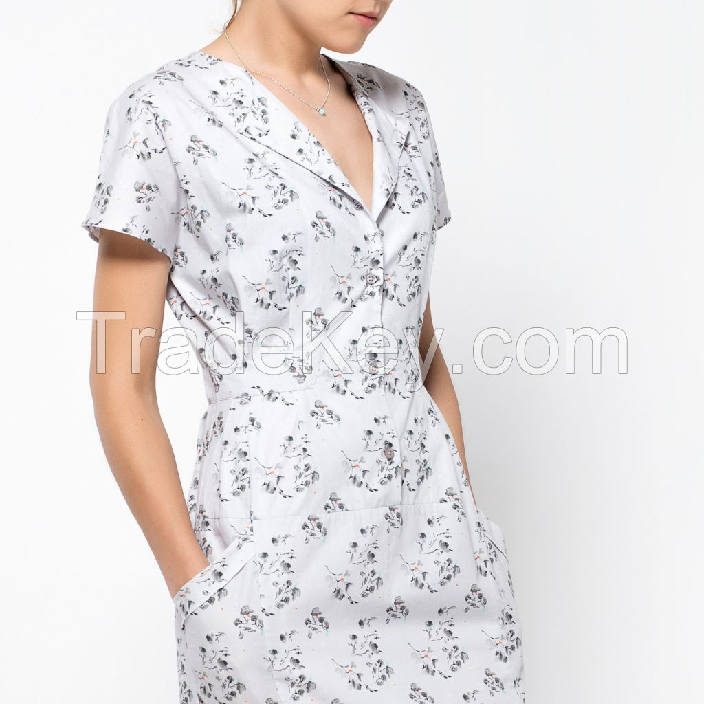 Floral Dress Made in EUROPE, cotton 100%,  Modern and Beautiful