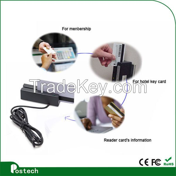 Programmable pos card reader msr100 magnetic card reader USB RS232 TTL for system access control