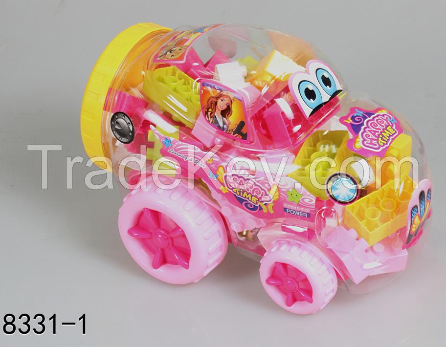 PP educational building block  Children enlighten toys DIY assembly block Car canned