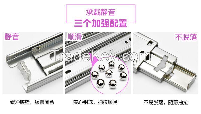 Furniture Hardware Drawer Slide Ball Bearing Slide Cold-Rolled Steel Slide