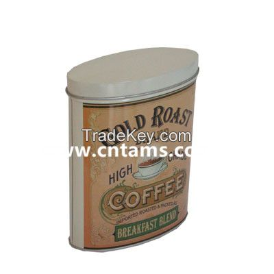Vintage Oval food Tin Box coffee container