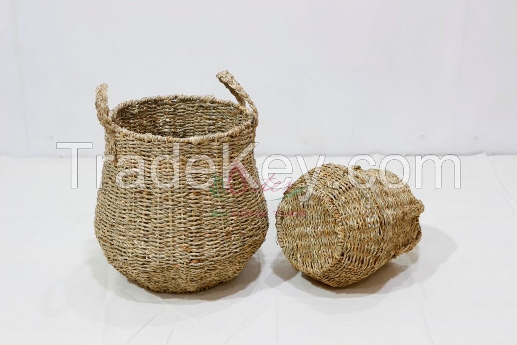 Seagrass storage basket, Competitive Price, New Design for home furniture-SD1982A-2NA