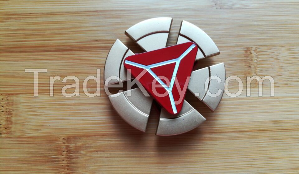 new toys, Mini rotator, finger spinner, six points pizza + triangle, aluminum alloy, gold