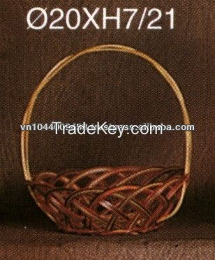 Round bamboo basket with handles