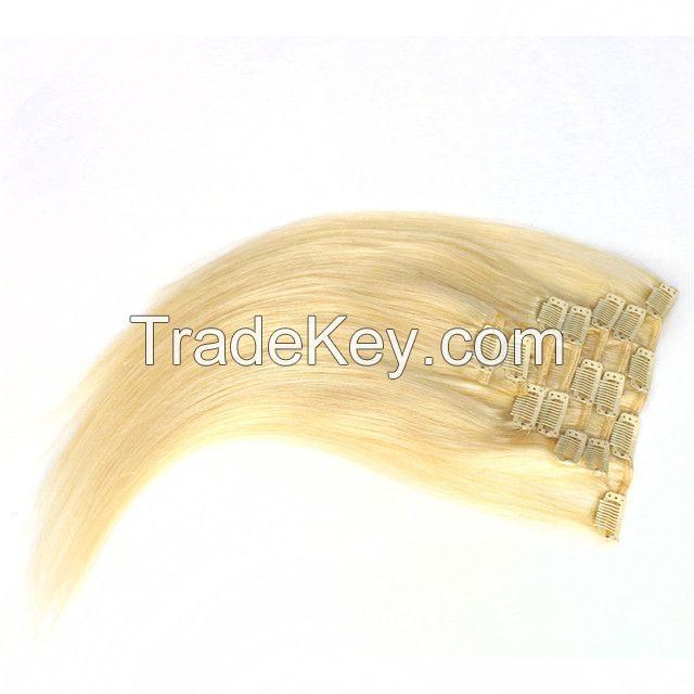 Wholesale Cuticle European Cheap 100 Human Blond Clip In Hair Extensio