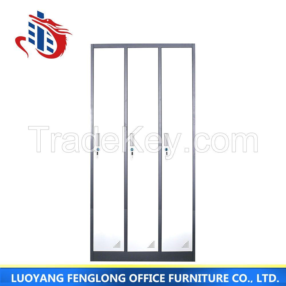 3 door high quality home wardrobe, steel cheap storage wardrobe