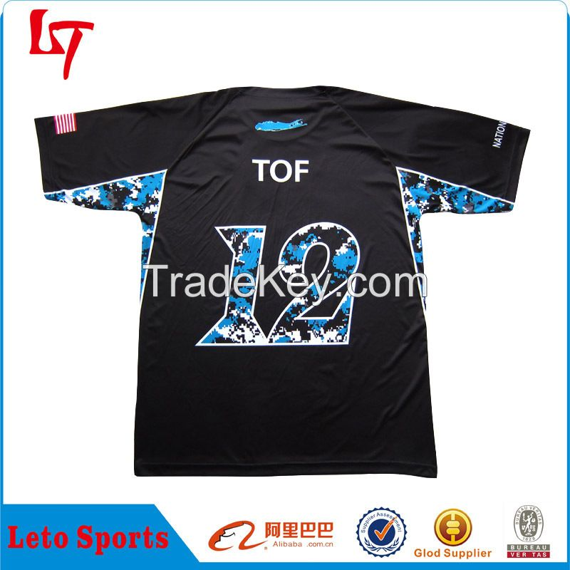 Wholesale custom sublimation full dye printing black baseball tops/jerseys