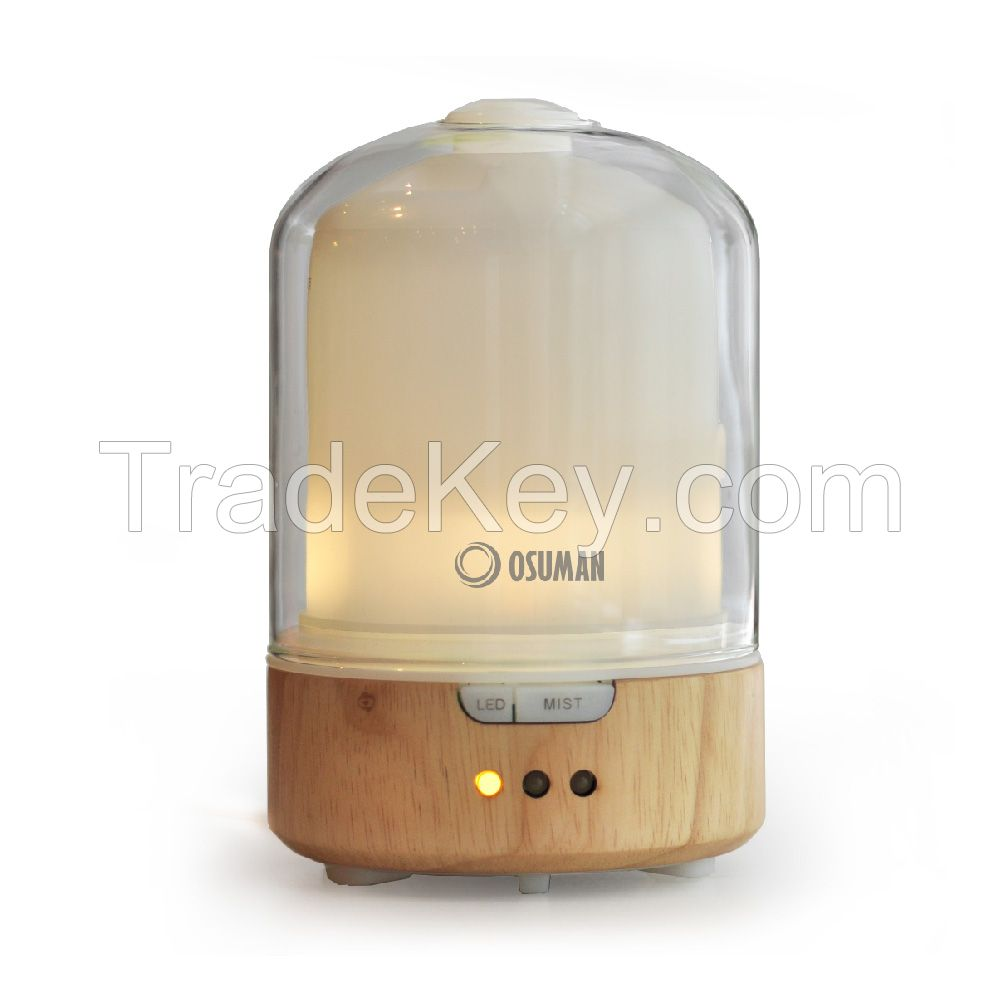 OSUMAN wood and glass yellow warm light ultrasonic essentail oil aroma diffuser N13