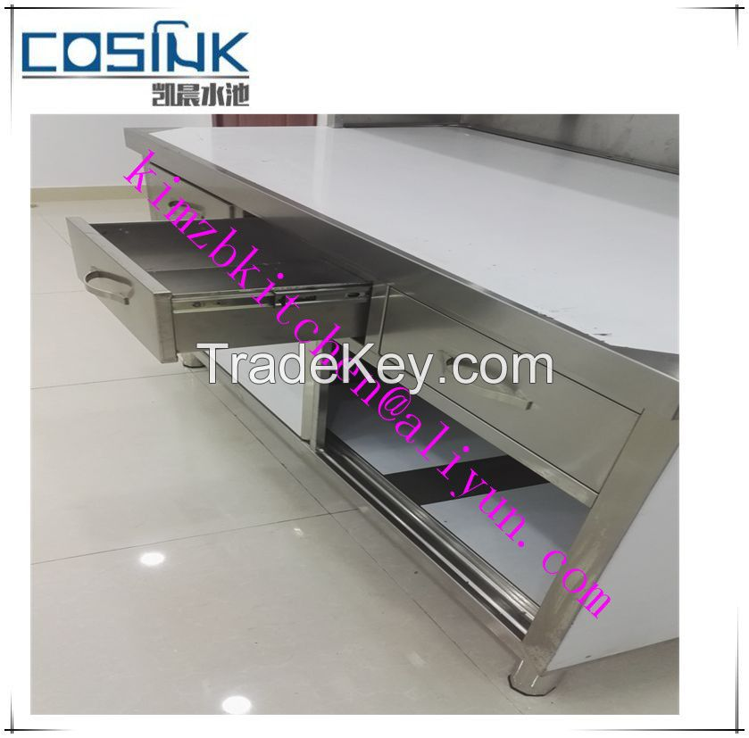 China OEM manufacture stainless steel commercial kitchen worktable with bottom shelf