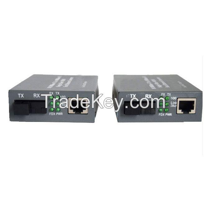 1 Pair 10/100Mbps Fiber Optic Single Mode Single Fiber Media Converter