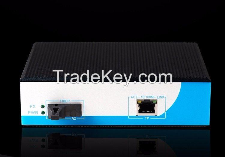 10/100/1000Mbps 2 port industrial poe media converter / poe switch 1 Gigabit dual Fiber port