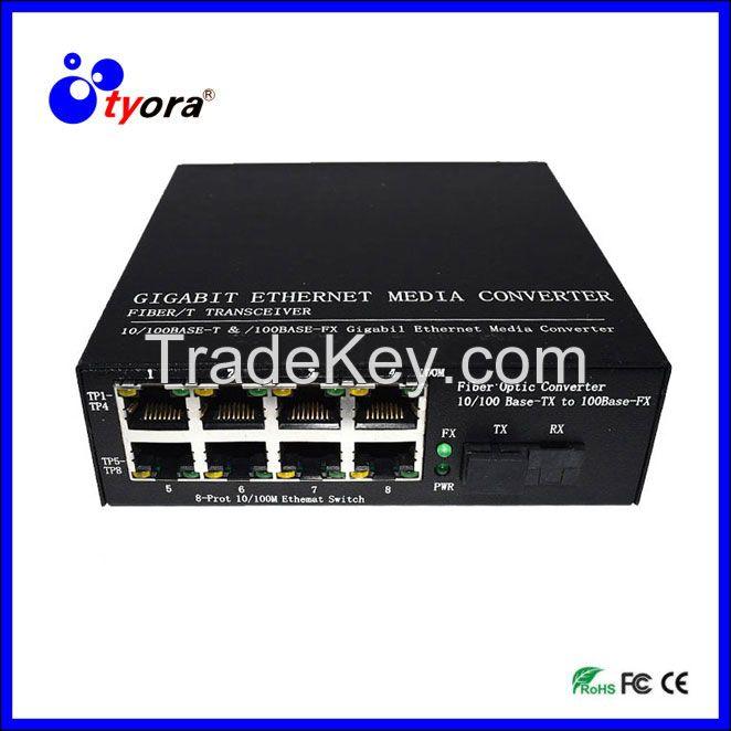 1 Pair 10//100//1000Mbps Fiber Optic Ethernet Media Converter Gigabit 8 RJ45 Port