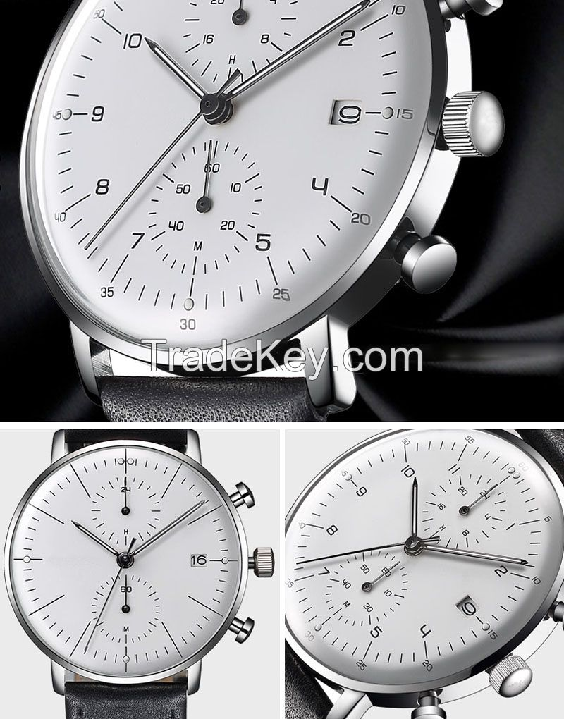 Top sell high quality luxury men's genuine leather band wrist watch
