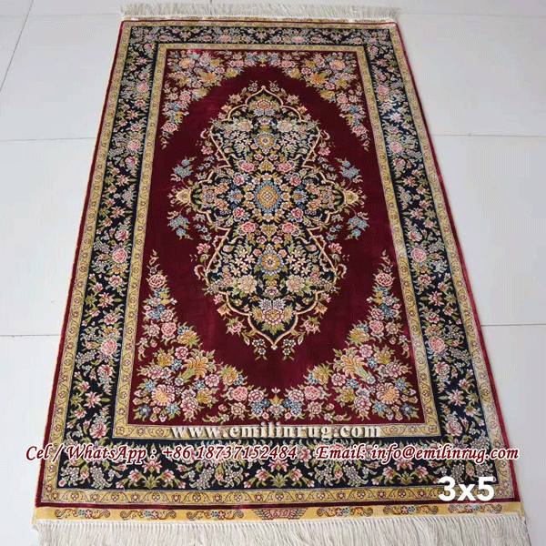 3x5 Red Handmade Kashmir Silk Rugs Carpets