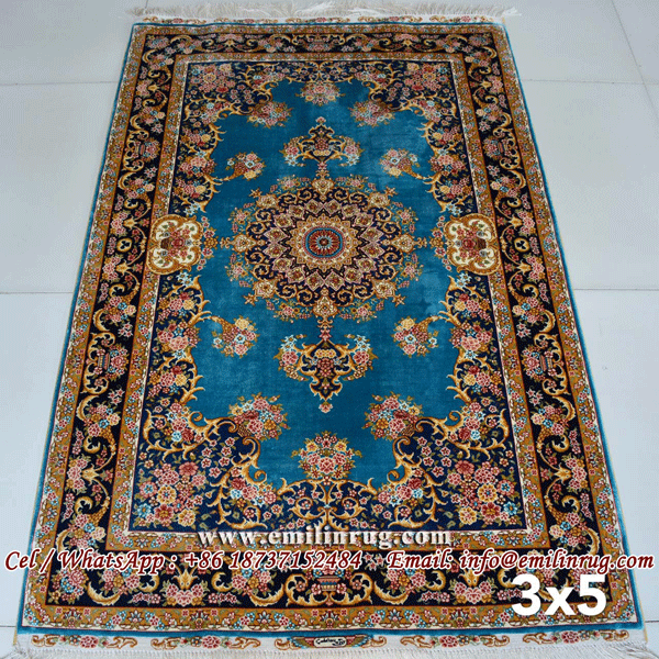 3x5 Blue Handmade Hand Knotted Persian Silk Rugs and Carpets