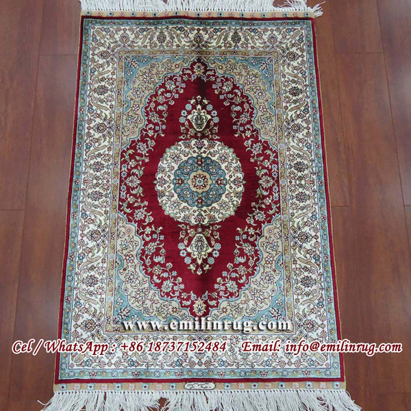 Red Handmade Hand Knotted Oriental Persian Design Pure Silk Carpets Rugs
