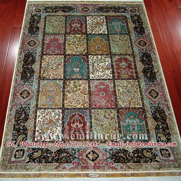 Double Knotted Turkish Silk Rug Handmade Hand Knotted Four Season Garden Design