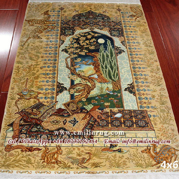 4x6 Handmade Hand Knotted Persian Pure Silk Religion Art Wall Hanging Tapestry