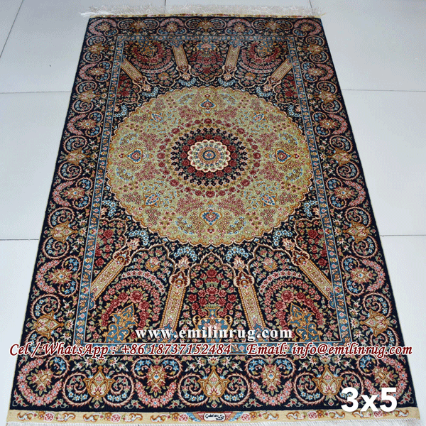 3x5 Bedroom Hand Knotted Iranian Silk Carpet Iran Rug Traditional Persian Qum Qom Design