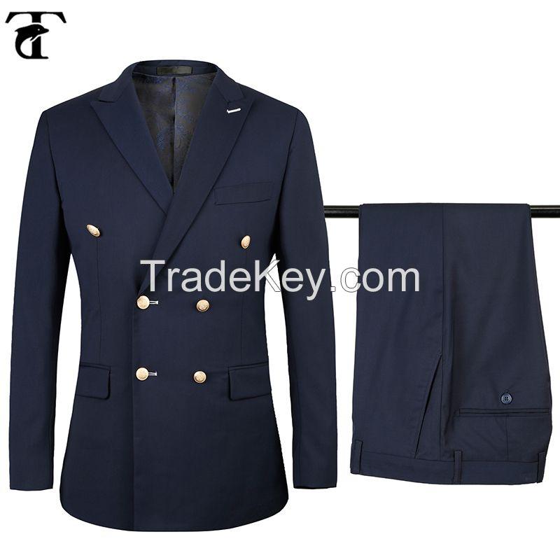 Slim Fit Double Breasted Coat Pant Men Suit