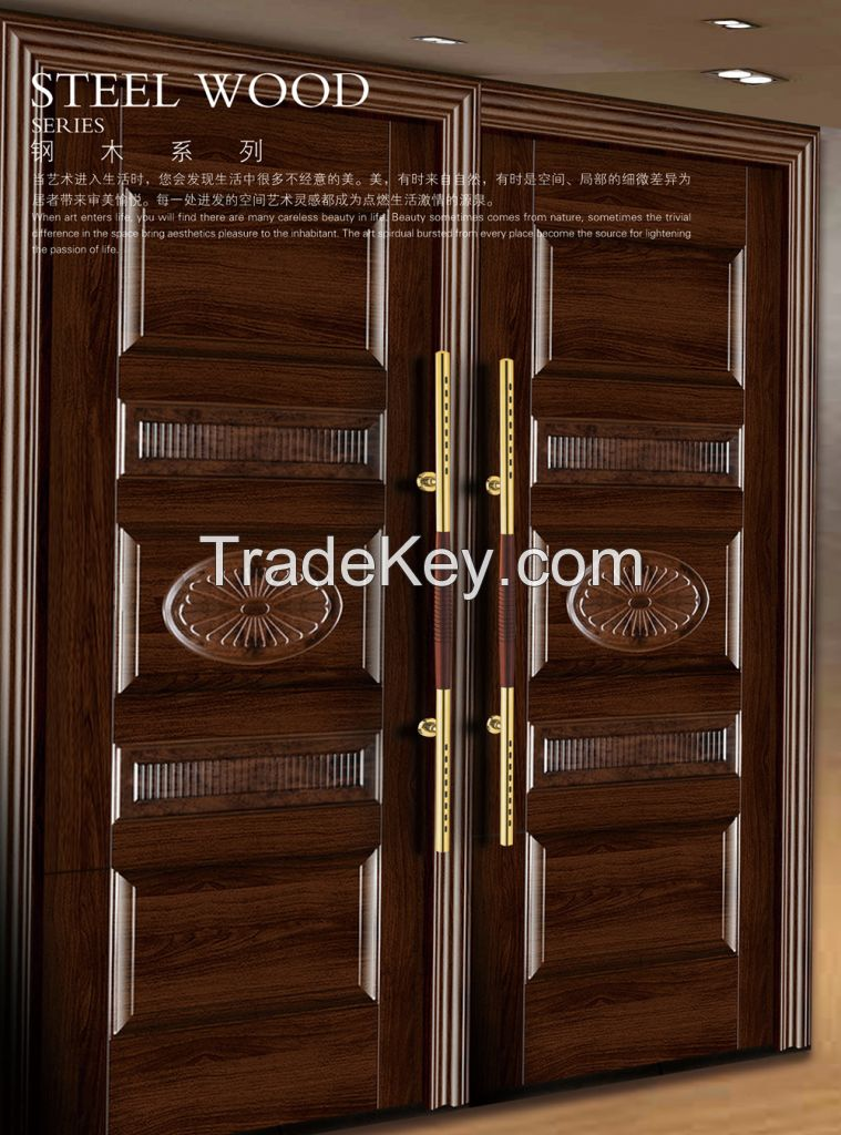 Steel and wood combinsed with the material of the door handle