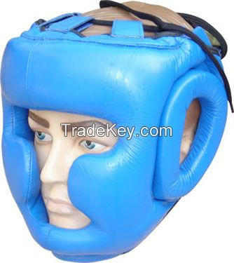 Leather Pro Head Guards For Professional Fighters with Chin Protection