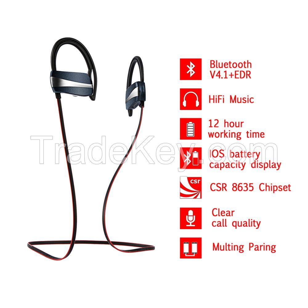 Sport Waterproof Bluetooth Stereo Earphone Wireless Headphone With Mic
