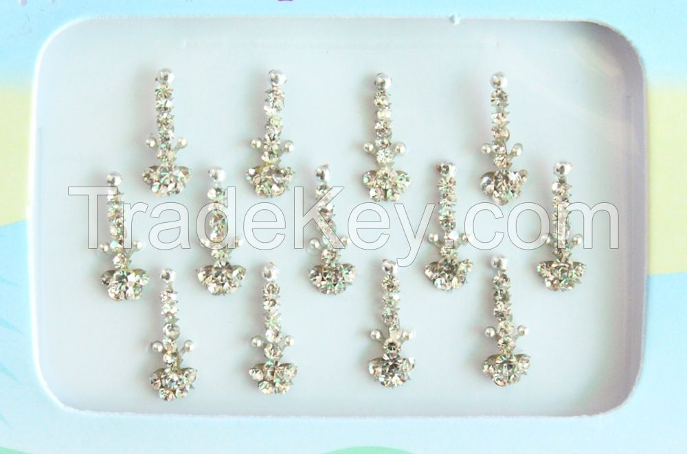 Indian Silver Bridal Forehead Festival Face Bindi Stickers pack