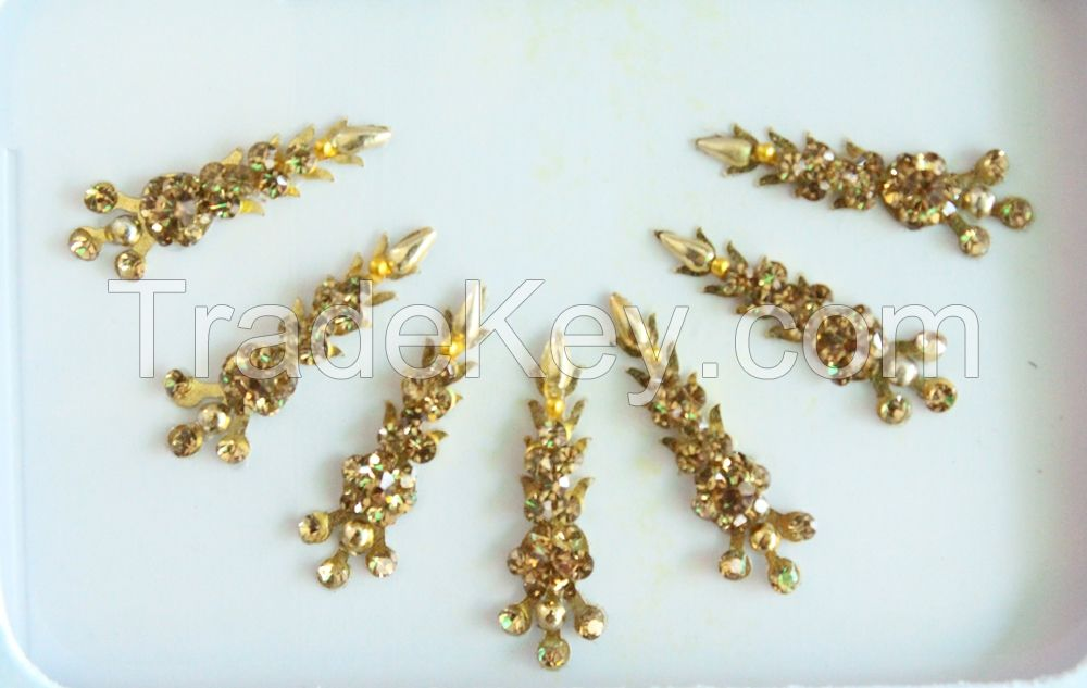 Indian Gold Bridal Forehead Festival Face Bindi Stickers pack