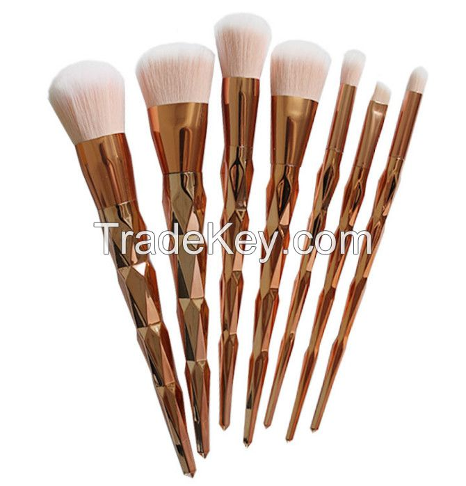 Professional 7PCS Color Mermaid Diamond makeup brushes Eyebrow Eyeliner Blush Blending Contour Foundation Cosmetic Makeup Brush Set DHl Ship