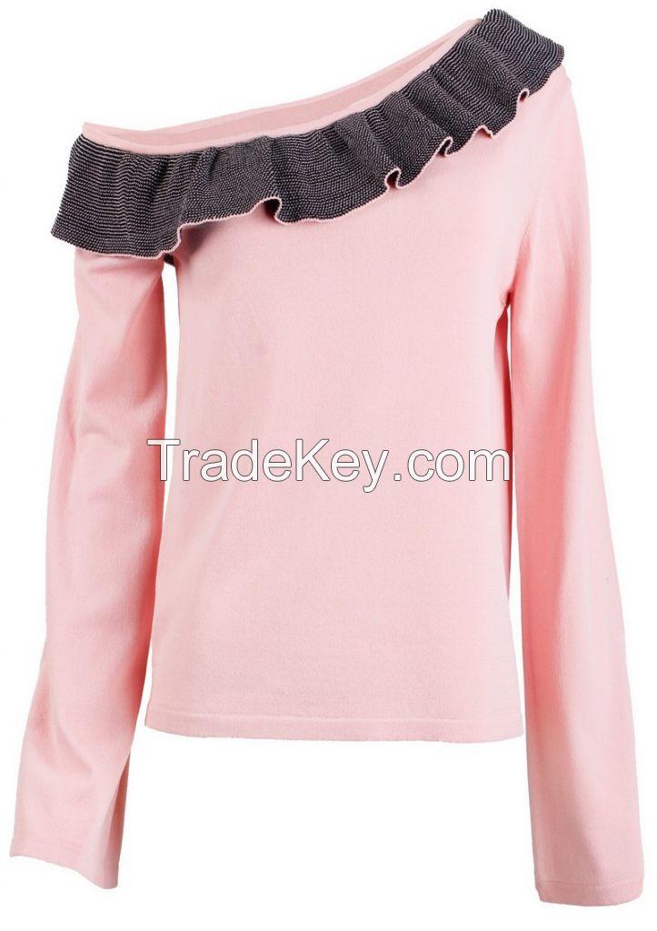 M71010 Ruffle Cold Shoulder Neckline Women Knitting Pullover